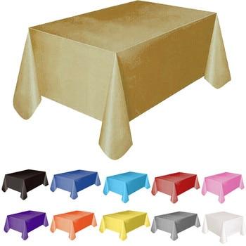 Masa örtüsü masa örtüsü 137x183cm dikdörtgen parti tema keten yeni katı plastik su geçirmez masa örtüsü 11 renkler dekorasyon kapak