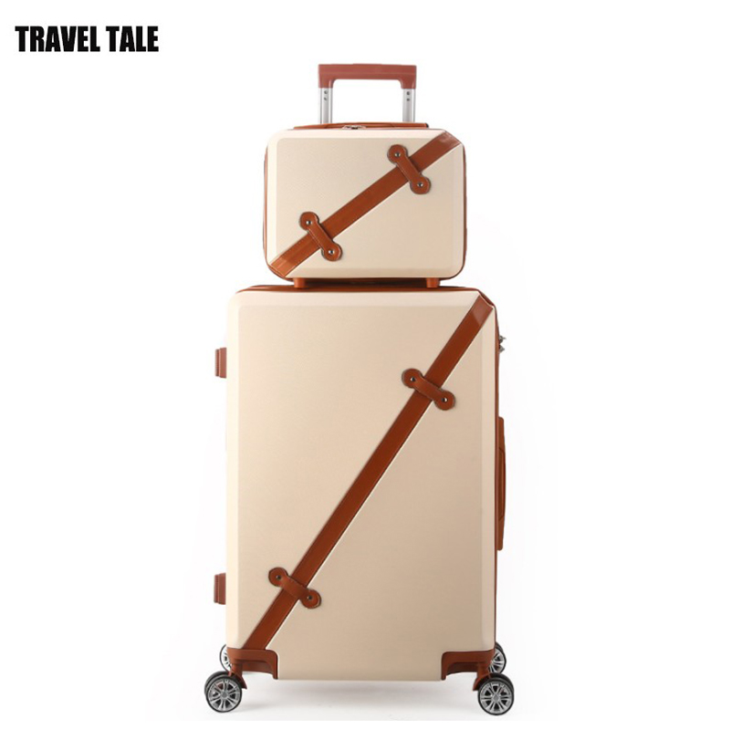 "TRAVEL TALE 20""24""28"" inch retro koffers trolleys suitcase spinner hand luggage bag with small bag"