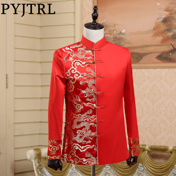 PYJTRL Men's Chinese Style Red Tang Costume Wedding Groomsmen Jacket One Side Embroidery Gold Dragon Stage Clothes For Singers-in Blazers from Men's Clothing    1