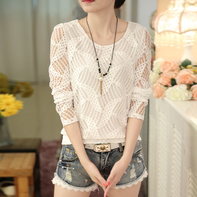 New Fashion 2016 Autumn Women's white Lace blouse Tops female Long Sleeve Hollow-out Casual Blouse Autumn Shirts