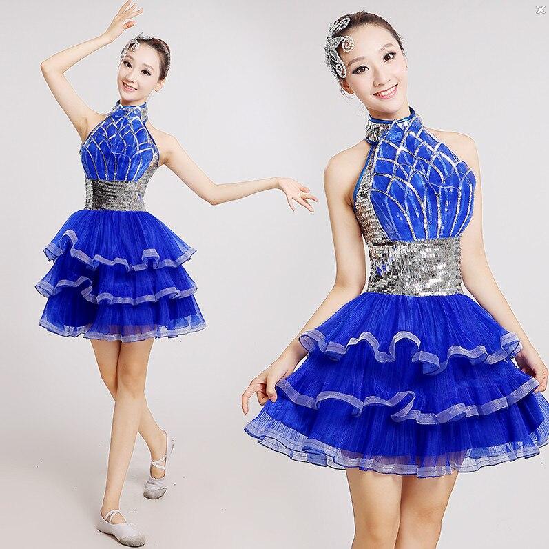 Royal blue Singer Women Shine silver Sequin Paillette Dress Jazz Dance DS Costume Stage Latin Bar