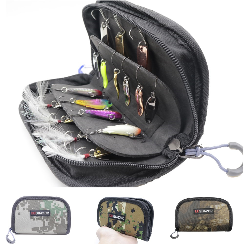 Fishing bag Waterproof Portable Nylon Sequins Fishing Lure Baits Hooks Tackle Storage Bag Case Organizer Container 15*10*4CM