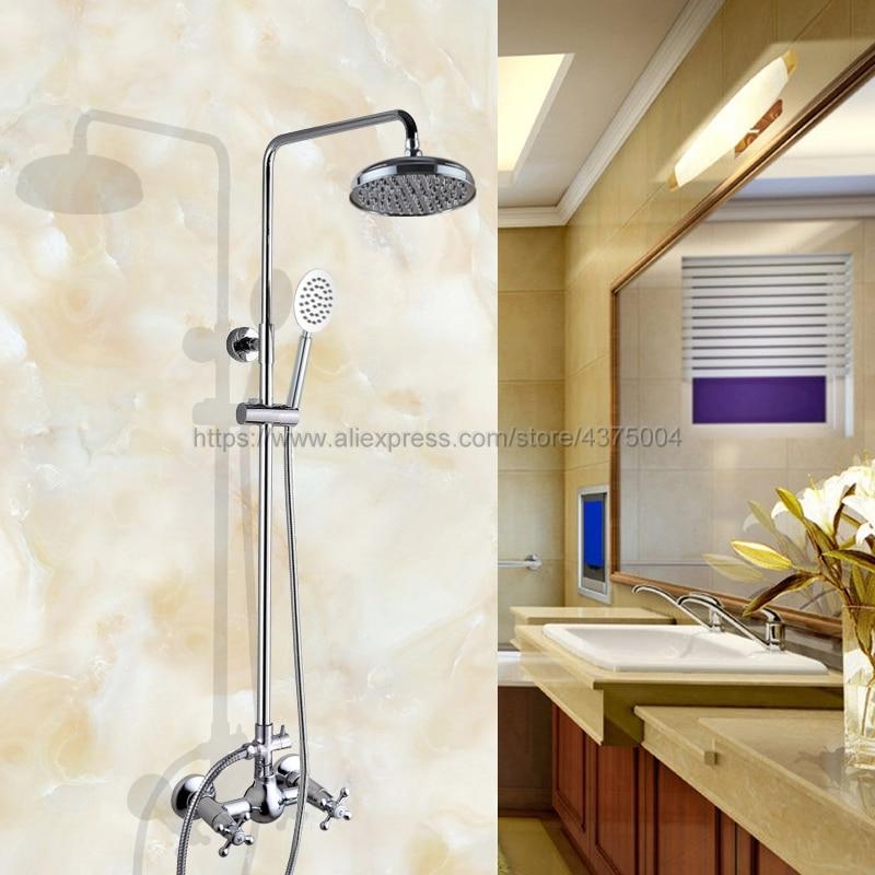 Chrome poli mural robinet de douche salle de bains système de douche pluie ensemble robinet avec pulvérisateur à main Ncy308