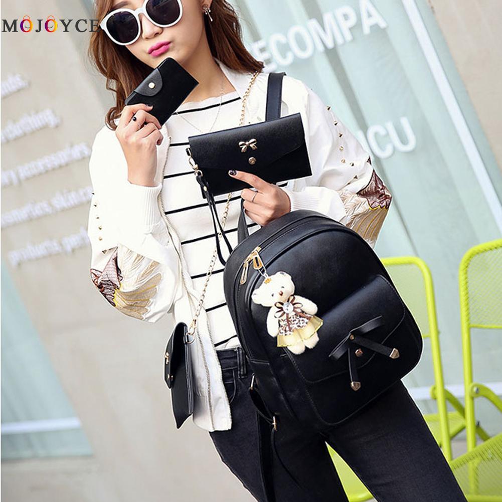 4 Pcs/set Women Backpack Small Size Fashion Teenage Girls Pu Leather Backpacks With Purses Mochila Feminina #5