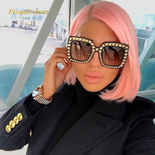 ProudDemon 2018 Women Luxury Square Oversized Diamond Sunglasses Ladies New Brand Designer Mirror Sun Glasses For Female Oculos