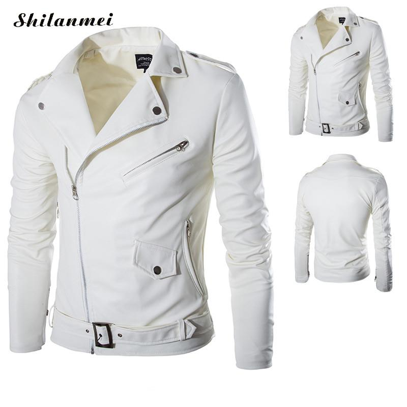 2018 Autumn Winter Casual Zipper white PU Leather Jacket Motorcycle Leather Jacket Men Slim Fit Mens Jackets And Coats