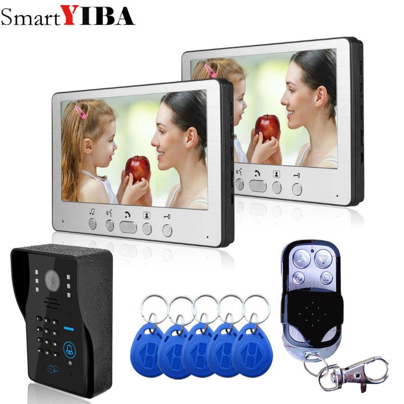 SmartYIBA Video Doorbell 7''Inch Monitor Wired Video Door Intercom Door Phone System RFID Access Camera 2 Monitor 1 Camera