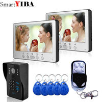 SmartYIBA Video Doorbell 7''Inch Monitor Wired Video Door Intercom Door Phone System RFID Access Camera 2 Monitor 1 Camera