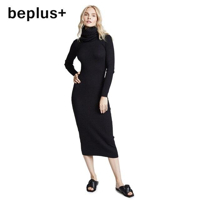 US $89.0 |Eileen Elisa Sweater Dresses For Winter Oversized Loose Black Mid  Calf Dress Women 2018 Plus Size Turtleneck Dress Ladies Maxi-in Dresses ...
