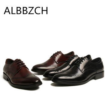 New genuine cow leather men shoes fashon carving derby wedding shoes high quality mens business dress work men shoes size 37 44