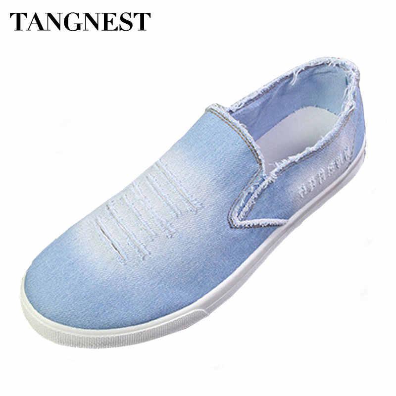 e9ab81328 Tangnest/Новая Осенняя мужская джинсовая обувь, винтажные потертые джинсовые  парусиновые туфли, мужские повседневные