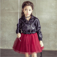 Spring & Autumn Fashion Kids Leather Jacket Girls PU Jacket and d Children Leather Outwear Baby Girl Jackets and Coats