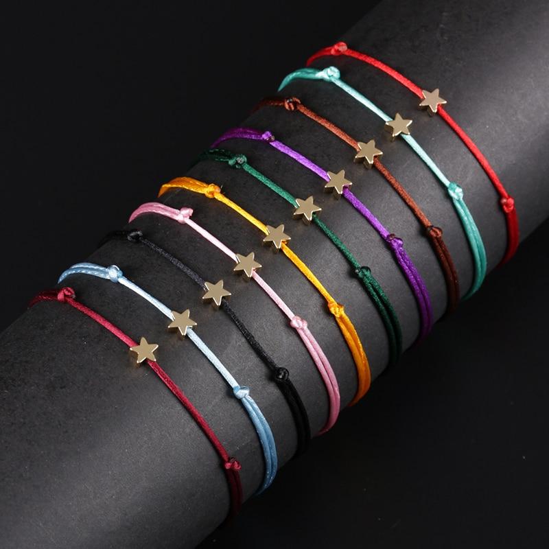 KEJIALAI Simple Star String Bracelet Adjustable Braiding Lucky Macrame Rope Bracelets For Women Men Children Handmade Jewelry