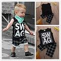 2016 New Arriving 2pcs Children Boy Clothes T-shirt Vest Tops + Pants Plaid Brand Harem Casual Black Outfits Sets Boy 1-5 Summer