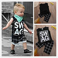 2016 nova chegada 2 pcs crianças roupas colete + calças xadrez marca Harem preto roupas define 1 - 5