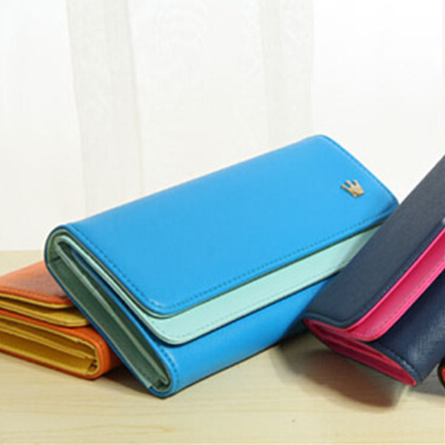 Multi-Function PU Women Wallet Durable Hit Color Sky Blue Credit Card Ticket ID Card Cash Holder Casual Organizer Bag