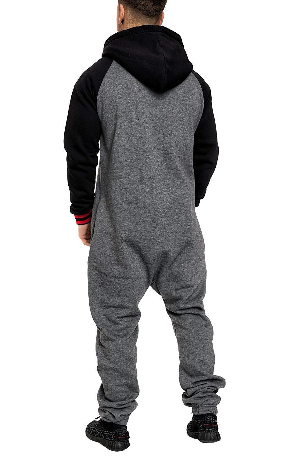 Casual Autumn Hooded Tracksuit Jumpsuit Long Pants Romper For Male Mens Fleece warm Overalls Sweatshirts Male Streetwear X9126 27