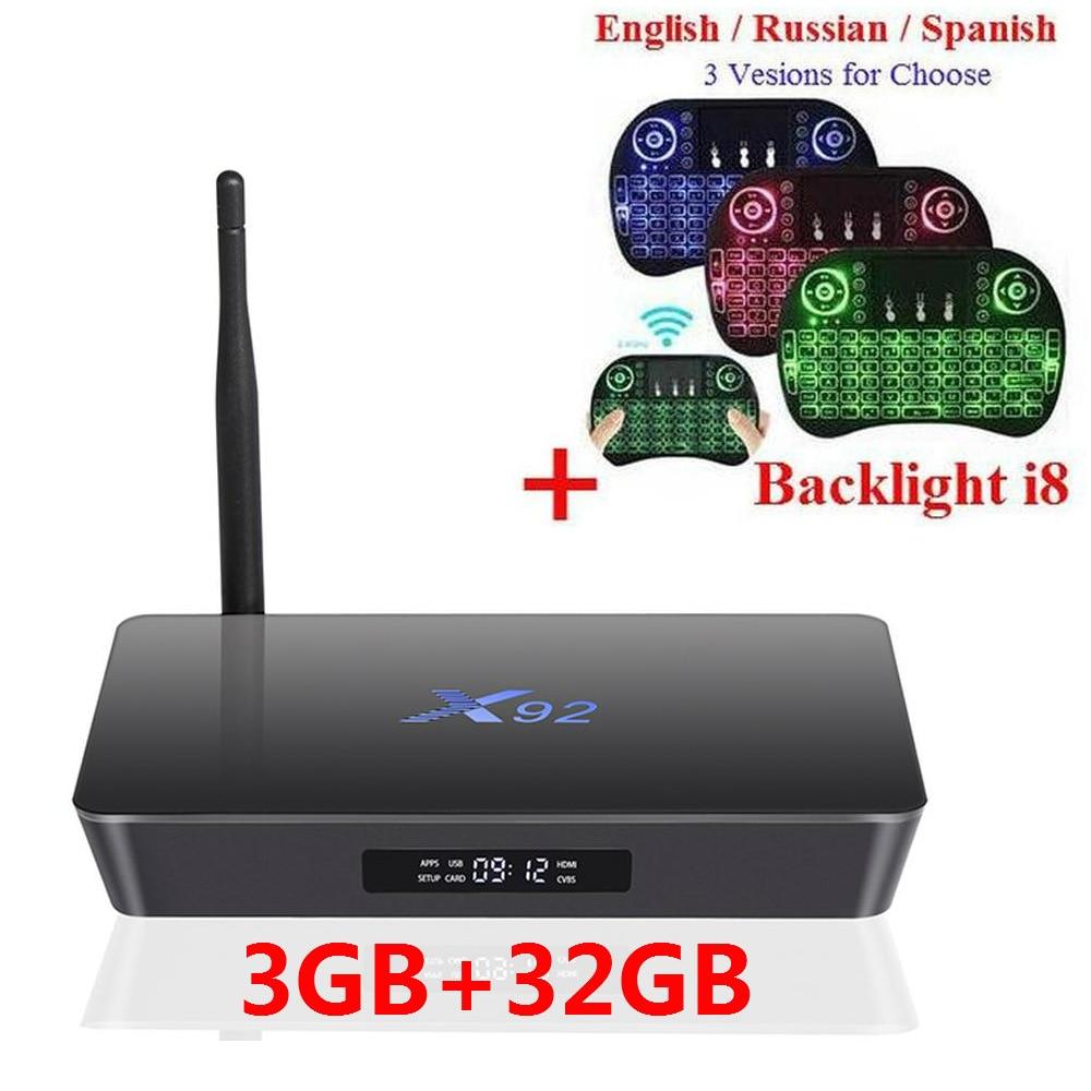 D'origine 2 GB 3 GB 16 GB 32 GB X92 Amlogic S912 Android 7.1 TV Box Octa Core KD Lecteur 16.1 Entièrement Chargé 5G Wifi Smart Set Top boîte