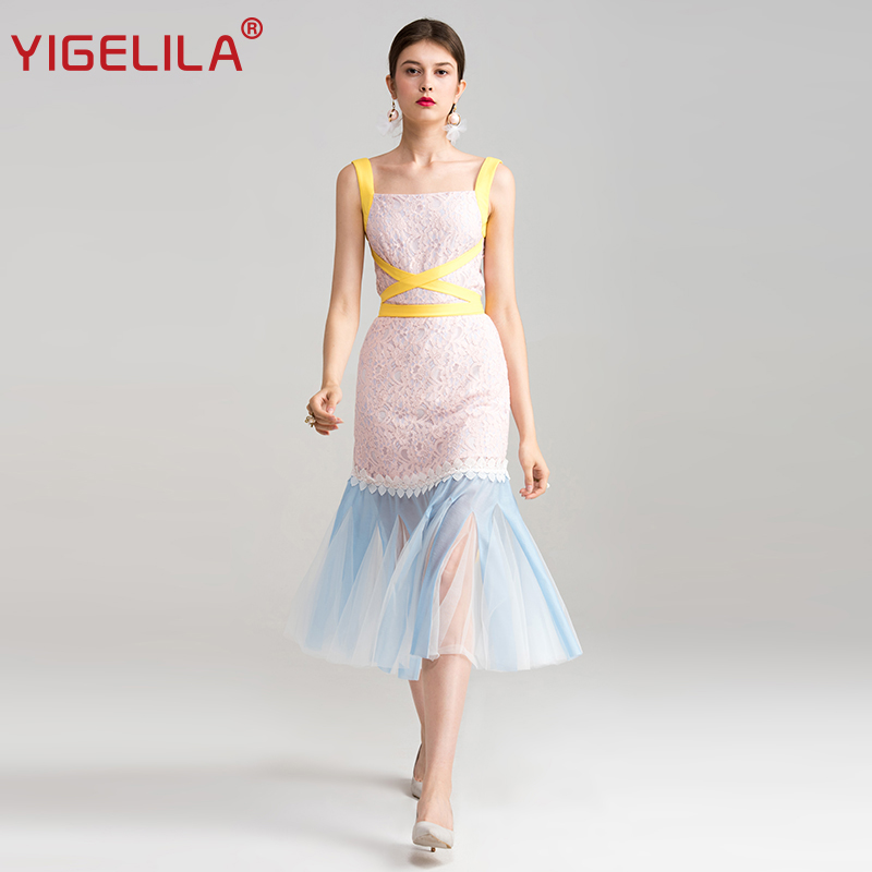 YIGELILA 2019 Summer Fashion Square Neck Sleeveless Bandage Sheath Package  Hip Mid Length Mesh Lace Party 30d23c19ed61