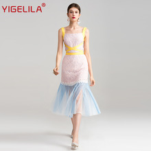 YIGELILA 2017 New Summer Women Fashion Patchwork Square Neck Sleeveless Sheath Package Hip Mid length Mesh Lace Dress 62813