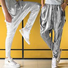 Stage personality mens pants Hip hop Metal color Hot stamping harem pant men trousers singer dance rock street star style