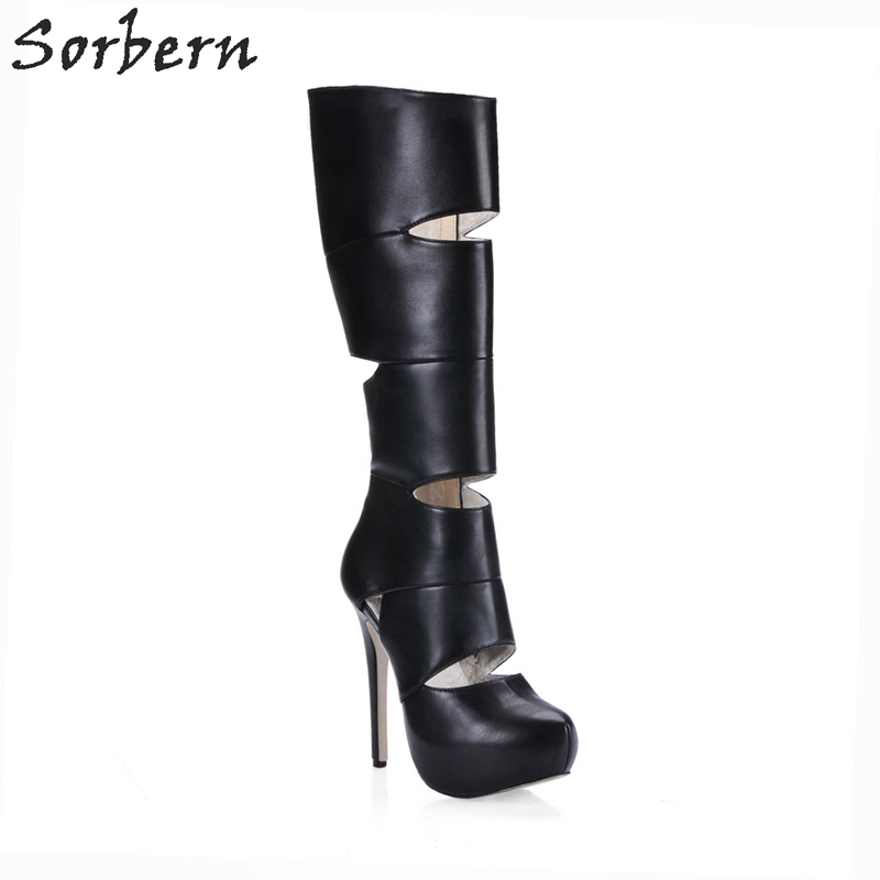 Sorbern Hollow Out Platform High Heel Knee High Winter Boots Women Booties Designer Shoes Women Luxury 2017 Runway Shoes