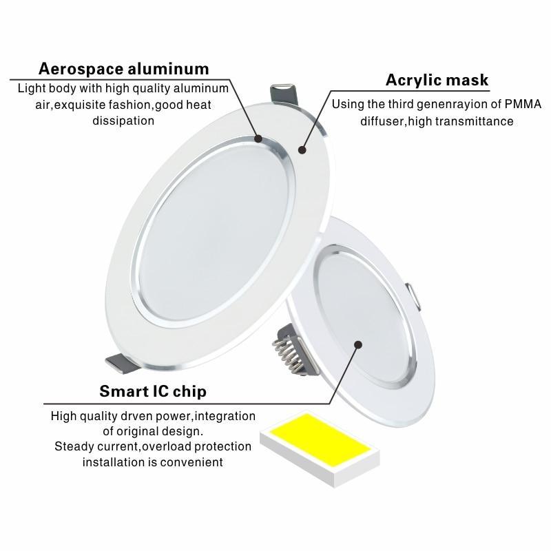 LED Downlight 5W 9W 12W 15W 18W Recessed Round LED Ceiling Lamp AC 220V 230V 240V Indoor Lighting Warm White Cold White 6