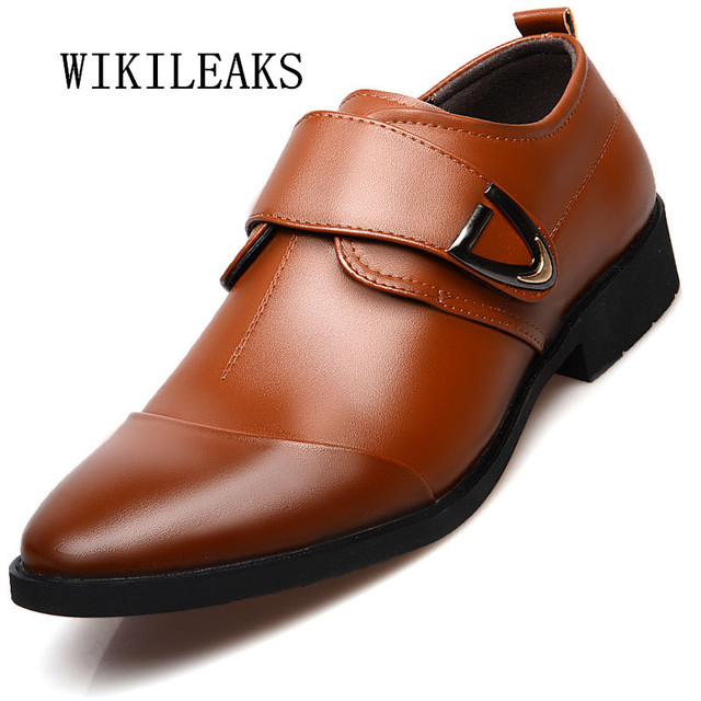 2019 formal wedding shoes mens pointed toe buckle dress shoes oxford shoes  for men black office business shoes sapatos masculino 4c7980cbd622