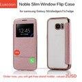 6 цвета Бренд Класса Люкс Окно Просмотра Флип Кожаный Чехол для Samsung Galaxy S7 edge Блеск Накрест Силиконовый ТПУ Case для S6