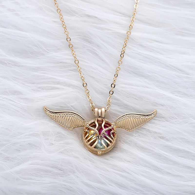Golden Snitch Angel Pearl Necklace Gold Choker Pendant Long Link Chain Pearls Trendy Jewelry Gift Women Necklace Accessories
