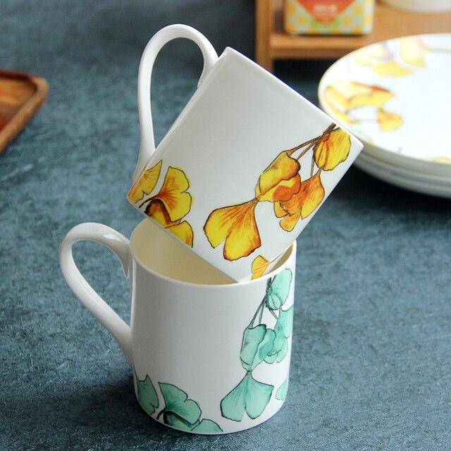 3aa1a3eb161 2pcs Tea Cup Set 400ml Large White Ceramic Coffee Cups with Leaf Decal Bone China  Mugs Lovers Mugs Premium Drinkware Fancy Gift