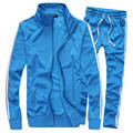 Spring Autumn Casual Slim Suit Men New Fashion Solid Stand Collar Youths Mens Tracksuit Set Men's  suit (Asian Size)