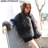 GENPRIOR Autumn Winter Women Fur Coat Both Sides Parkas Oversize Wear Faux Fur Down Coat Warm