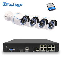 Techage 8CH 1080P POE NVR CCTV System 4PS 2500TVL 2 0 Mp IP Camera Outdoor Waterproof