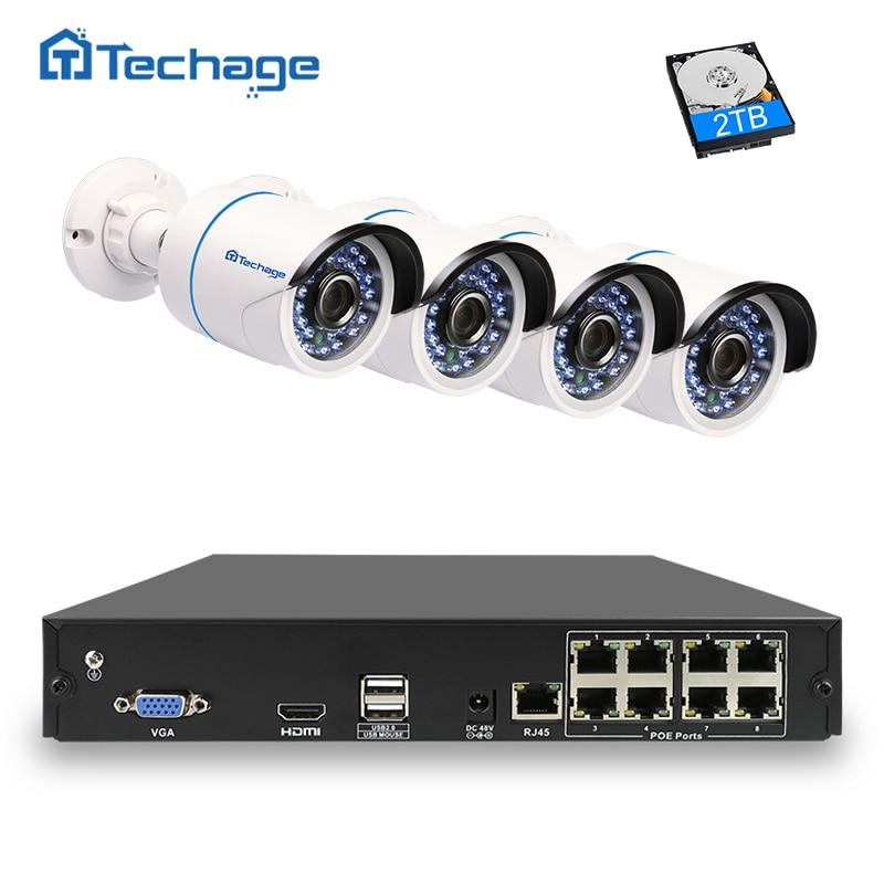 Techage 8CH 1080P POE NVR CCTV System 4PS 2500TVL 2 0 Mp IP Camera Outdoor Waterproof