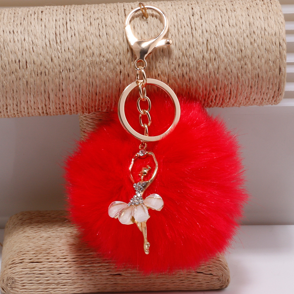 Fashion Women Phone Car Keychain Pompom Pendant Rabbit Fur Ball Key Ring