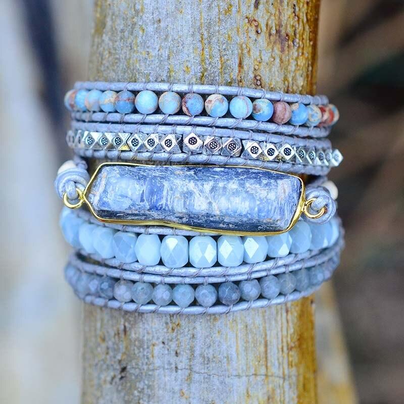 Energy Chakra Row Blue Topaz Wrist Handmade Vintage Jasper Bracelet Wrap Bracelet for Women Leather Bracelet Dropshippnig|Wrap Bracelets|   - AliExpress