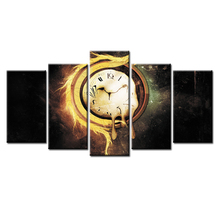 Wholesale 5 Pieces/set Abstract time poster Canvas Painting for living room Decoration Print Pictures Framed