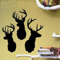 New 2016 Vinyl Beautiful Cute Three Deer Head Nature Vinyl Wall Paper Decal Art Sticker Size
