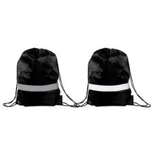 Drawstring Backpack Bags — 10 Pack Reflective Sack Backpack Sport Gym Cinch Bag Travel Fabric Drawstring Backpacks