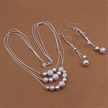 Hot silver color jewelry set charm temperament European style three chain multi beads necklace Drop Earrings