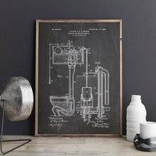 Patente de inodoro, sistema de descarga, arte de pared de baño, impresiones de imágenes, póster, decoración del hogar, vintage, blueprint, patente impresa, regalo, dibujo