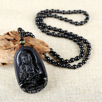 Fashion Natural Black Obsidian Carved Buddha Lucky Amulet Pendant Necklace Buddha Statue Halloween For Women Men
