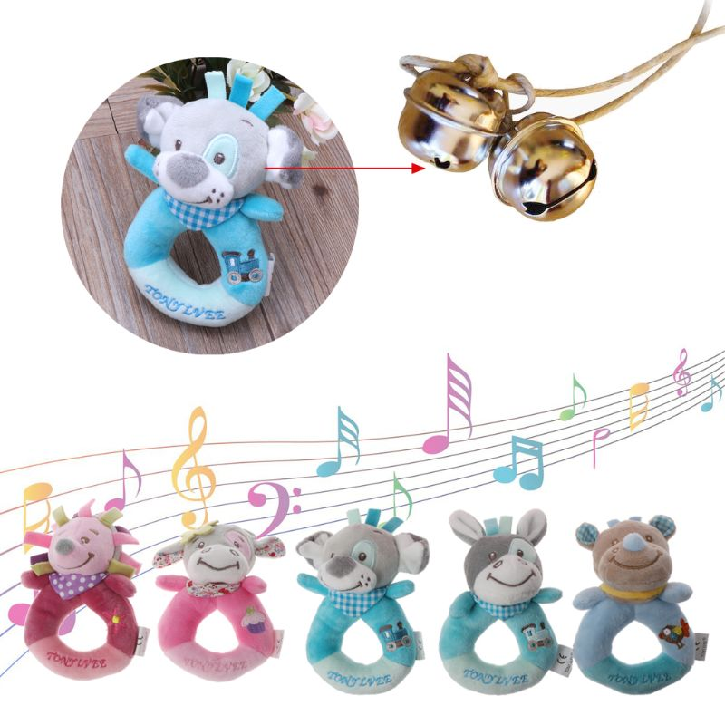 Baby Rattles Mobiles Cartoon Toys For Baby Animal Hand Bell Cute Dog Rattle