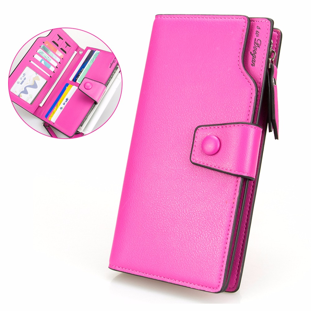 New Fashion Rose-Red Wallet Women Leather Wallet Two Folds Long Wallet Woman Handbag Hasp Phone SIM Card Holder Zipper Purse thinkthendo women leather card phone holder long arrow wallet checkbook tassel handbag purse