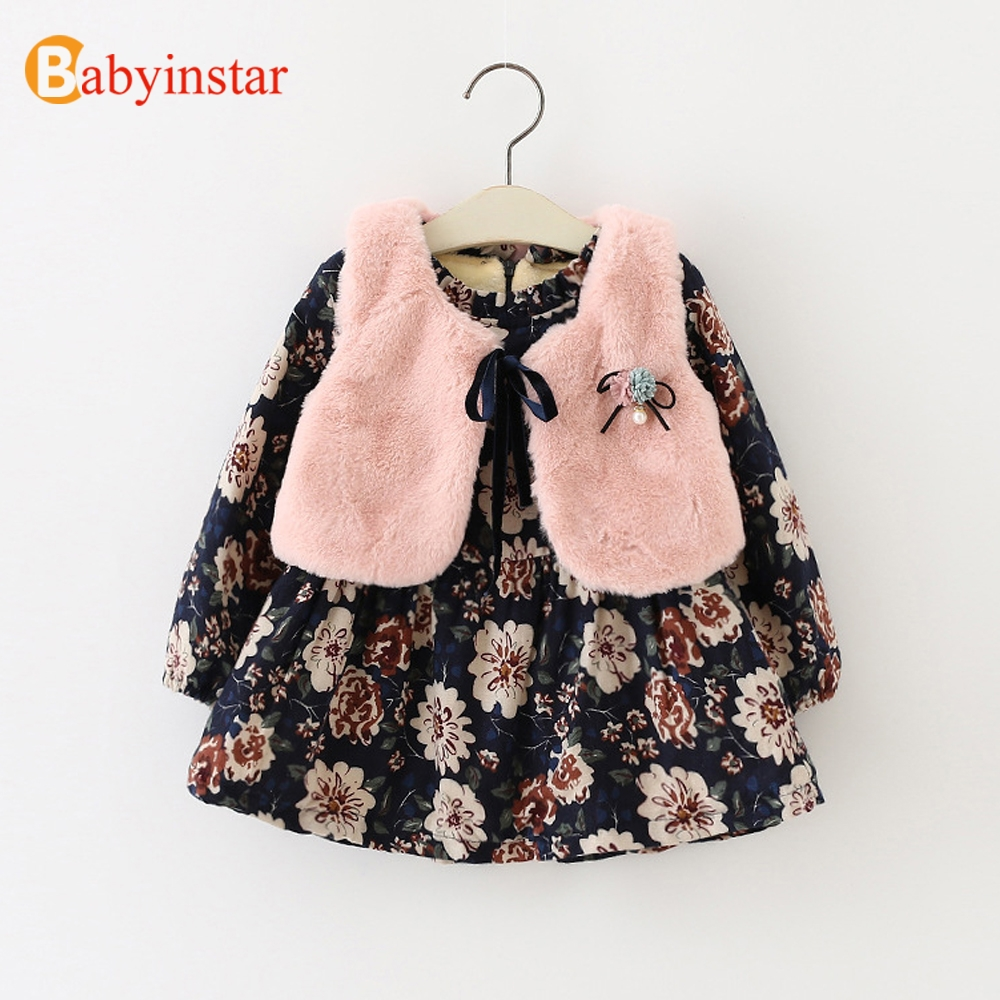 Babyinstar Baby Girls Set 2018 Girl Vest + Floral Print Dress 2pcs Baby Warm Outerwear Children Clothing Kids Dresses For Girls 10pcs set 6mm for rotary drill tungsten carbide burrs points grinder cutter drilling bit top quality