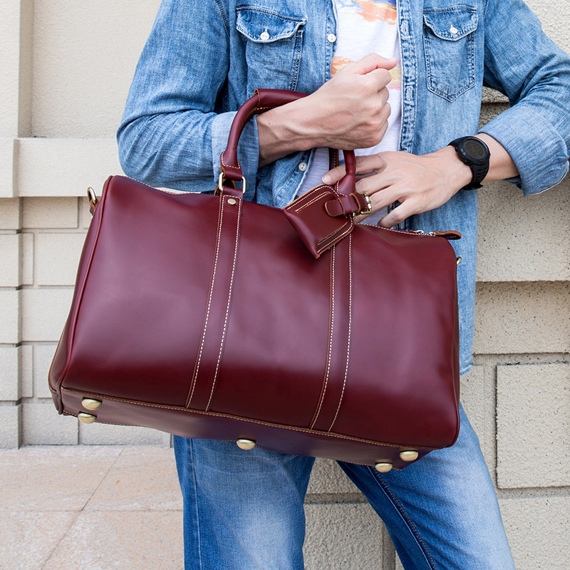 Women Travel Bag Large Capacity Genuine Leather Travel Duffel Red Oil Wax Leather Luggage Business Handbag Shoulder Bags