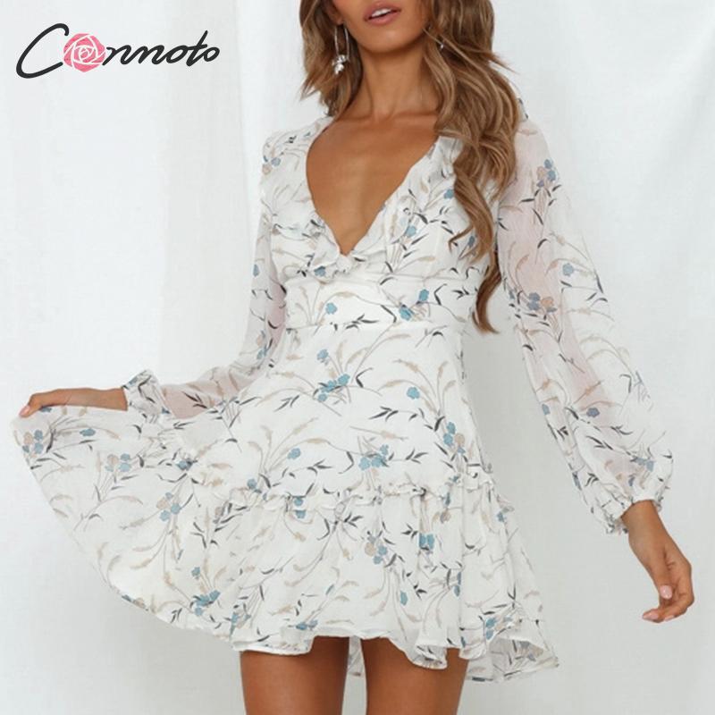 Conmoto Fashion V Neck Backless Chiffon Short Dress Women 2019 Summer Casual Ruffle Cross Strap Mini Dress Female Party Vestidos