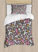 Doodle Duvet Cover Set Twin Size Kawaii Bunnies And Clouds With Cute Heart Eyed Skulls Japanese