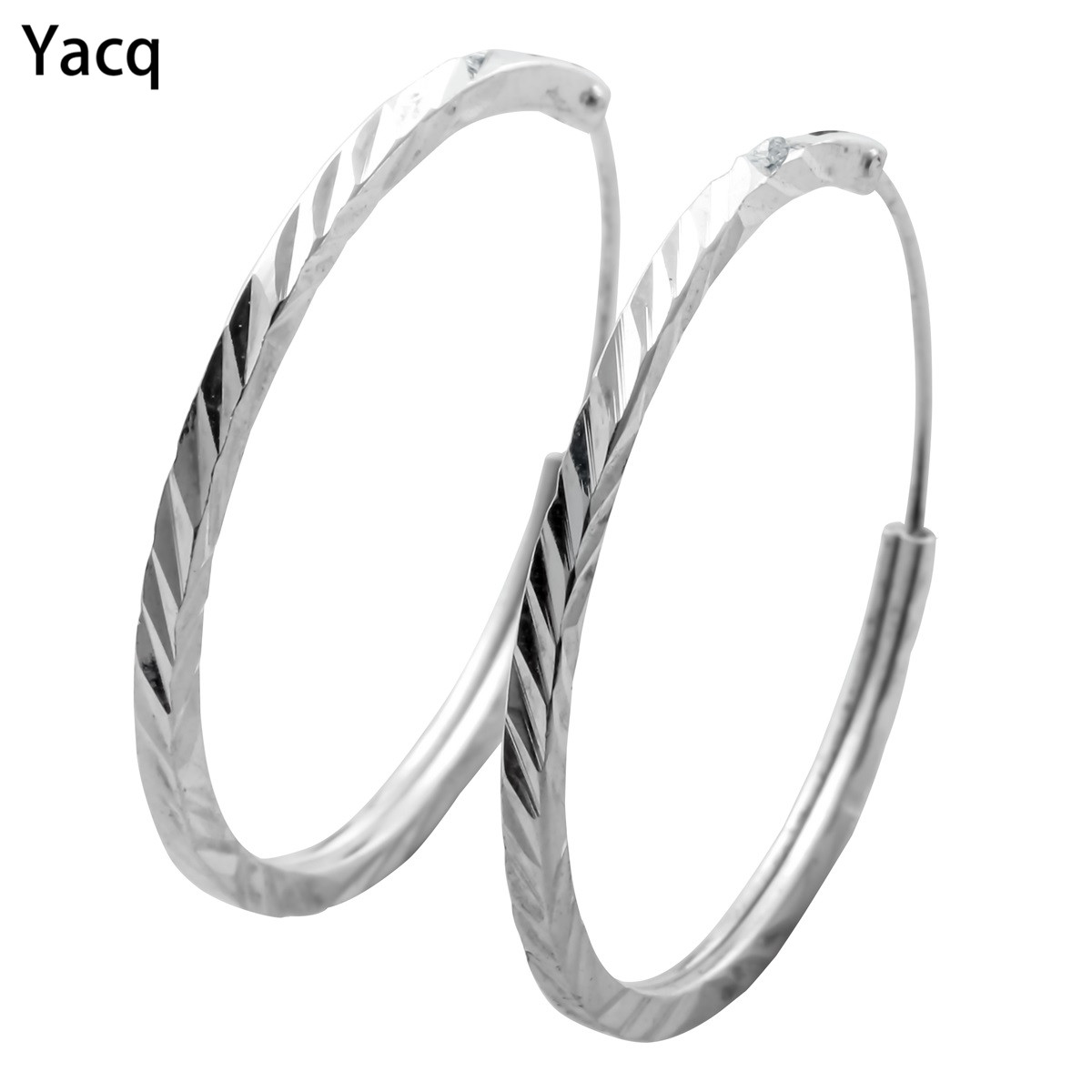 YACQ 925 Sterling Silver Hoop Earrings Birthday Party Jewelry Gifts for Women Girlfriend Her Mom Wife Dropshipping CE46